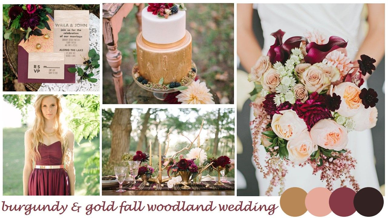 Burgundy And Gold Fall Woodland Wedding Inspiration