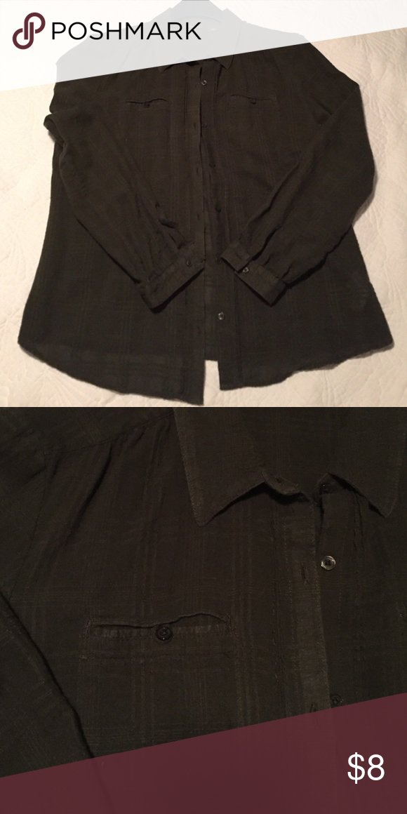 Deep olive green shirt So comfortable. A great piece for layering. Nice details like a textured plaid fabric, pin-tucking along the button plackets and inset breast pockets. Eddie Bauer Tops Button Down Shirts