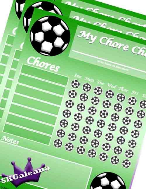 Printable Soccer Chore Chart Instant Digital Download by SKGaleana