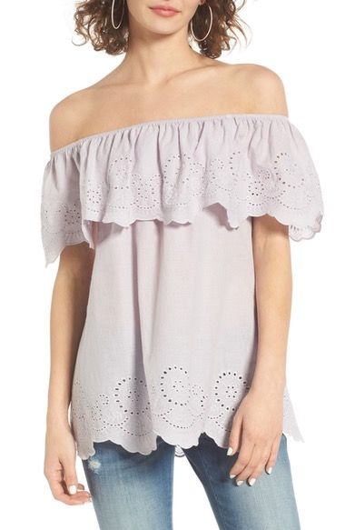 0a994af7a06686 BP. Eyelet Ruffle Off the Shoulder Top available at  Nordstrom ...