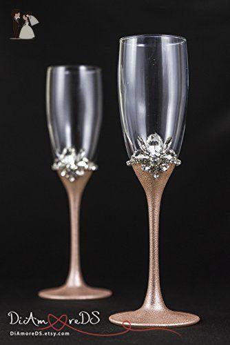 Rose Gold Wedding Glasses Personalized Champagne Flutes Rose Gold Flute Set Bling Toasting Glas Wedding Glasses Wedding Toasting Glasses Wedding Wine Glasses