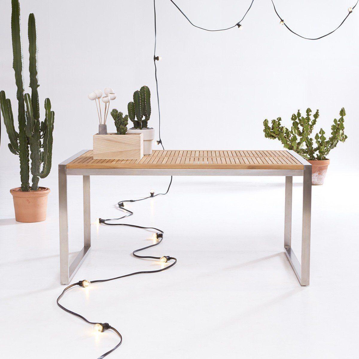 Table de jardin en bois de teck et inox 150 Arno | Products ...