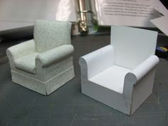 Dollhouse Miniature Furniture - Tutorials | 1 inch minis: Make and upholster a 1 inch scale chair #miniaturefurniture