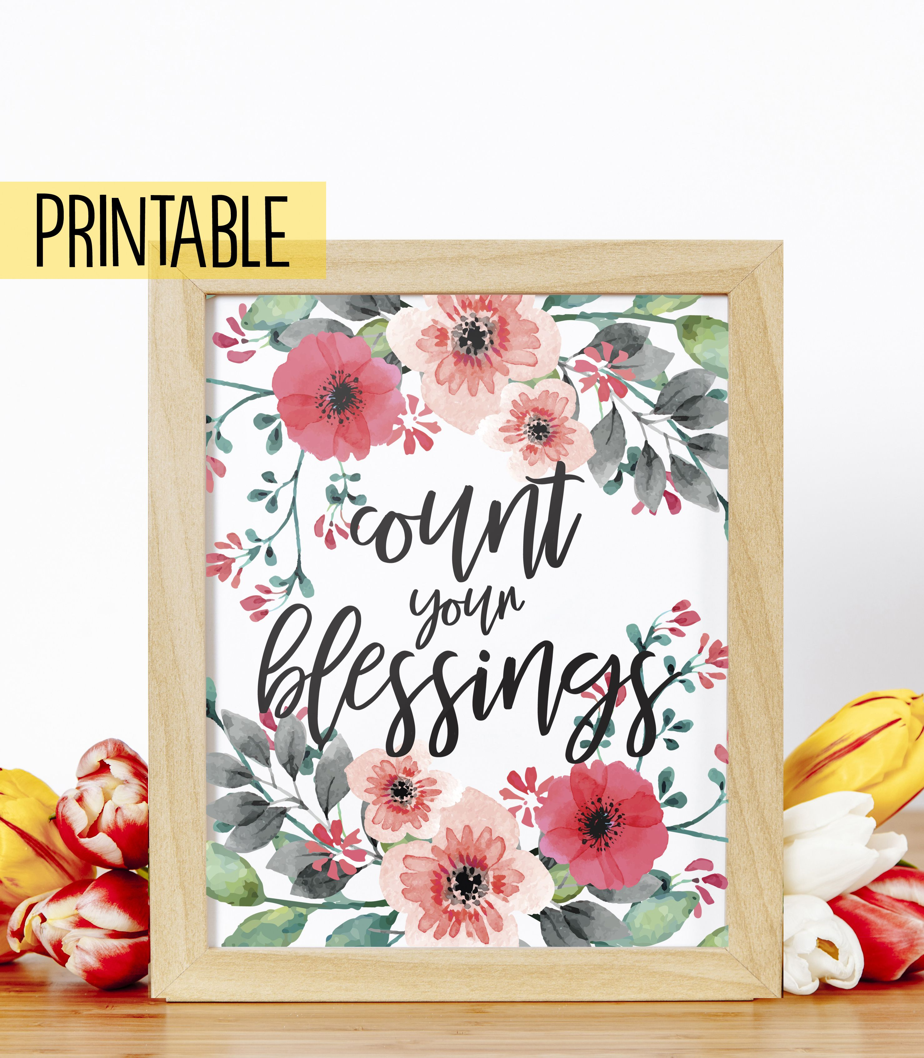 Printable Count Your Blessings Instant Download Fall Home