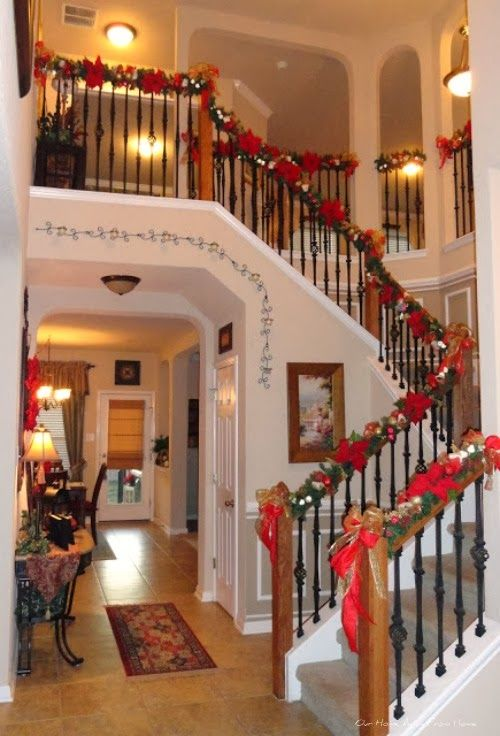 Our Home Away From Home Dollar Tree Christmas Garland Christmas Garland Christmas Staircase Christmas Tree Garland