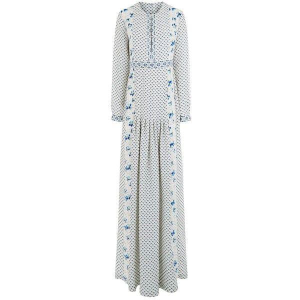 Vilshenko Blue Silk Moroccan Anais Dress (27.224.520 IDR) ❤ liked on Polyvore featuring dresses, multi, long pleated maxi skirt, blue dress, side slit maxi skirt, blue long sleeve dress and blue maxi skirt