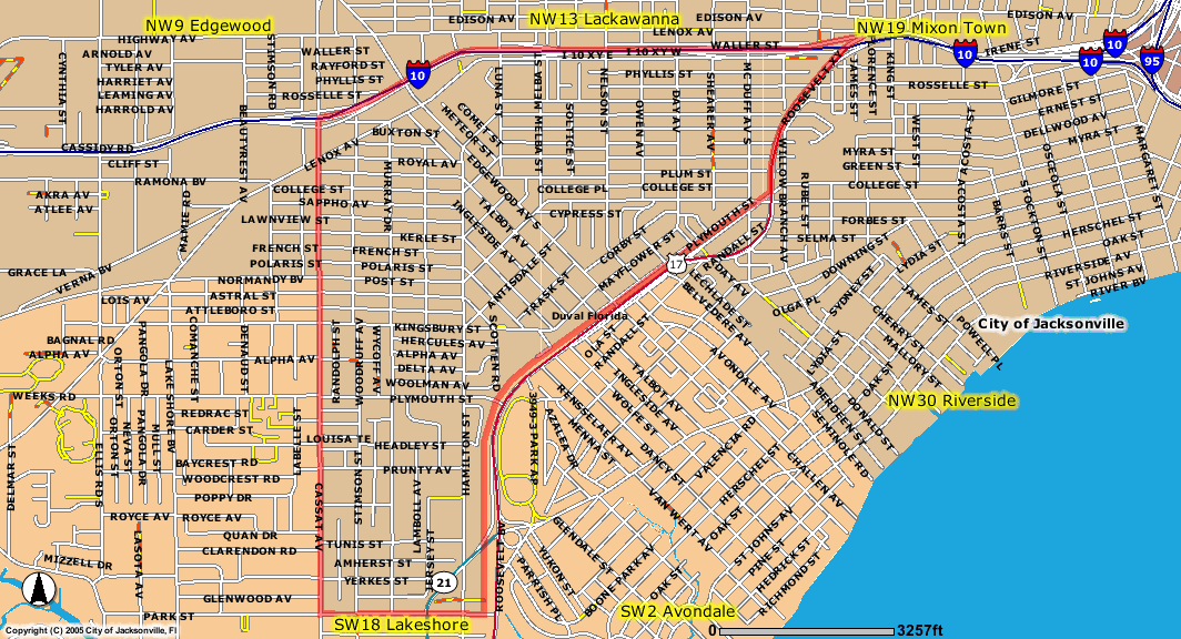 Map of Murray Hill in Jacksonville FL