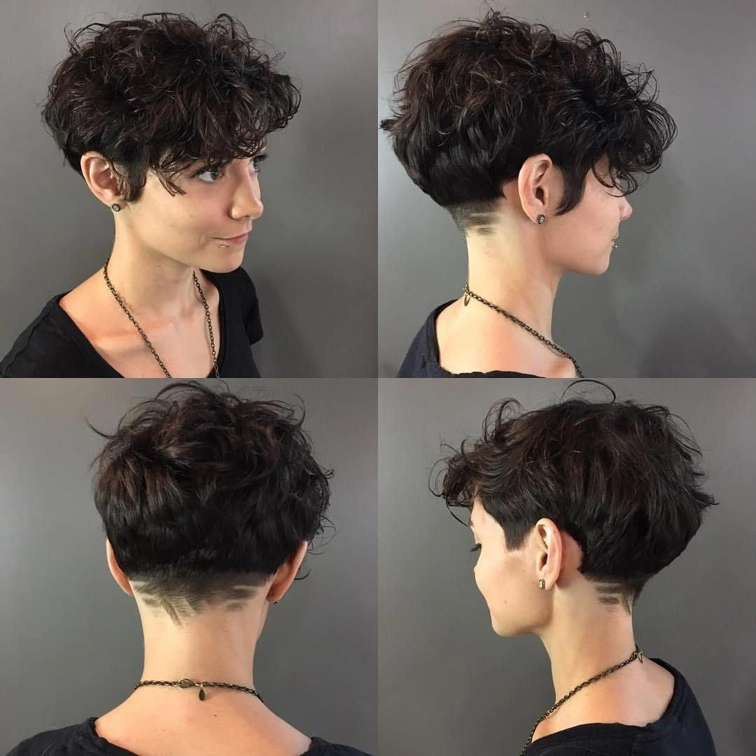 Curly Pixie with Shaved Nape #curlyhaircut  Short wavy hair