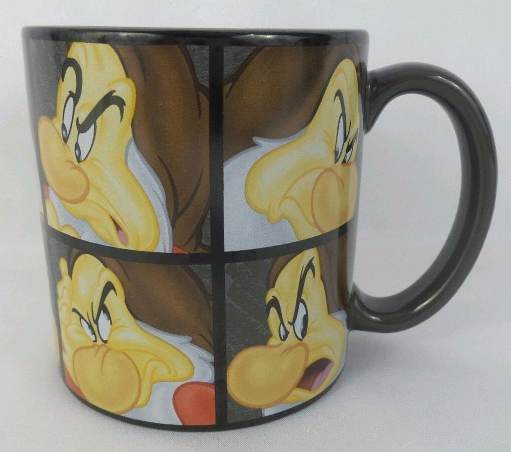 Disney Store Exclusive 10 Faces of Grumpy Mug Gray Coffee Cup 20oz