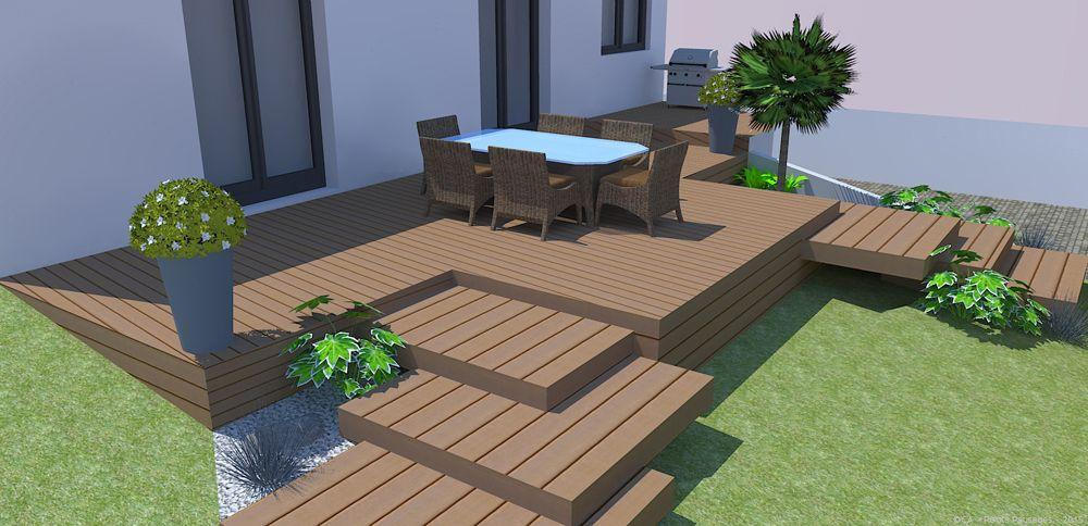Pour Moderniser Un Jardin Roots Paysages A Realise L Amenagement D Un Terrain En Pente Avec Peu D Entretien Des March Jardin En Pente Terrasse Jardin Jardins