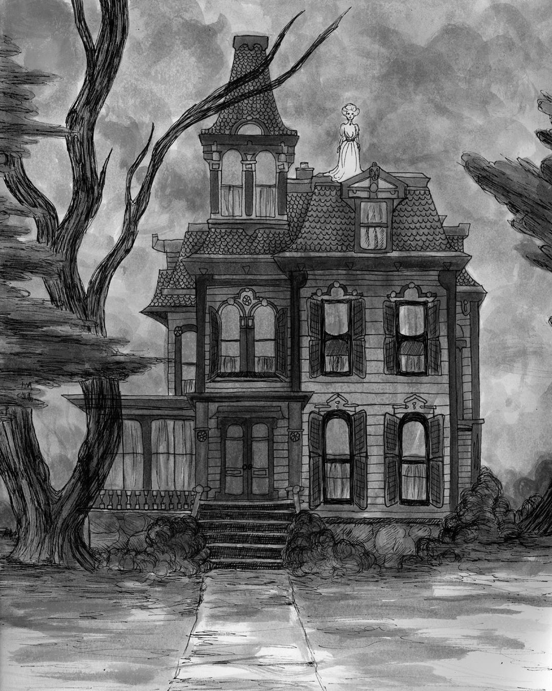 """Spooky House Drawing : spooky, house, drawing, Spooky, Haunted, House, Syring🐇, Instagram:, """"Happy, Anniversary, Mansion!, My…, Drawing,, Tattoo,, Creepy, Houses"""