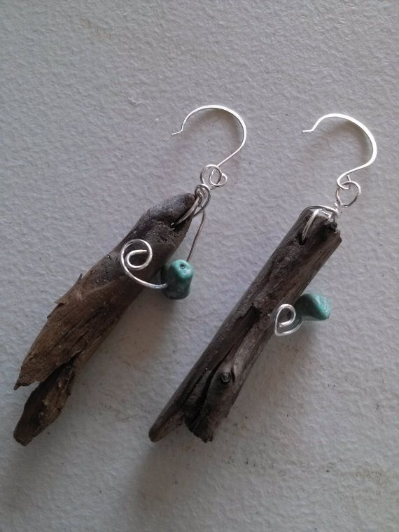 Driftwood stone wire wrapped earrings by poppyparty on Etsy, $10.00
