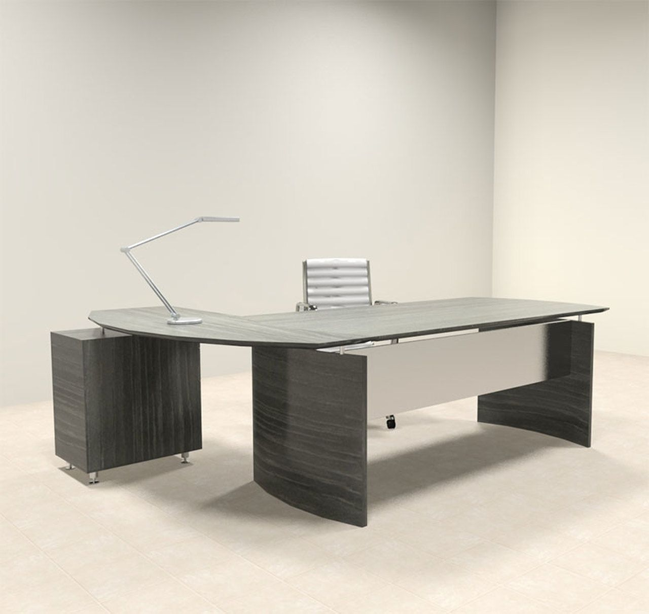 2pc Modern Contemporary L Shaped Executive Office Desk Set Mt