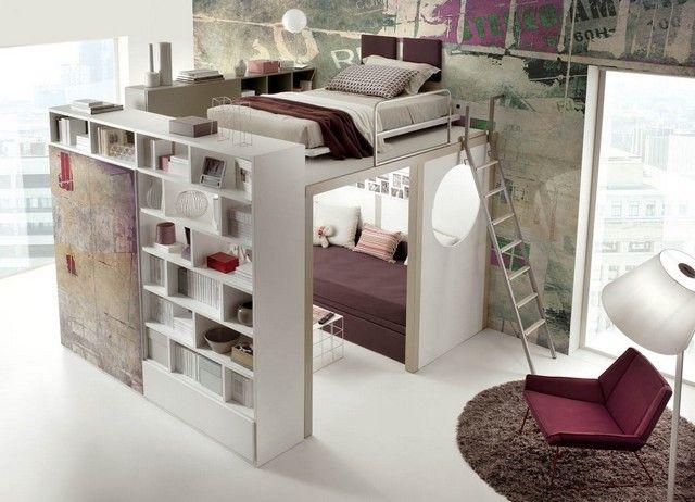 schlafzimmer jugendzimmer ideen kleine einzimmerwohnung sofa regalsystem - Einzimmerwohnung