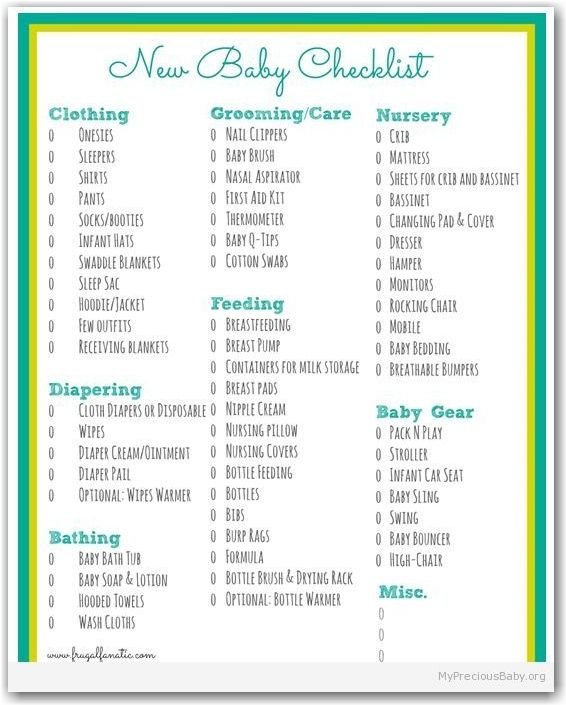 New Baby Checklist  New Arrival    Baby Checklist