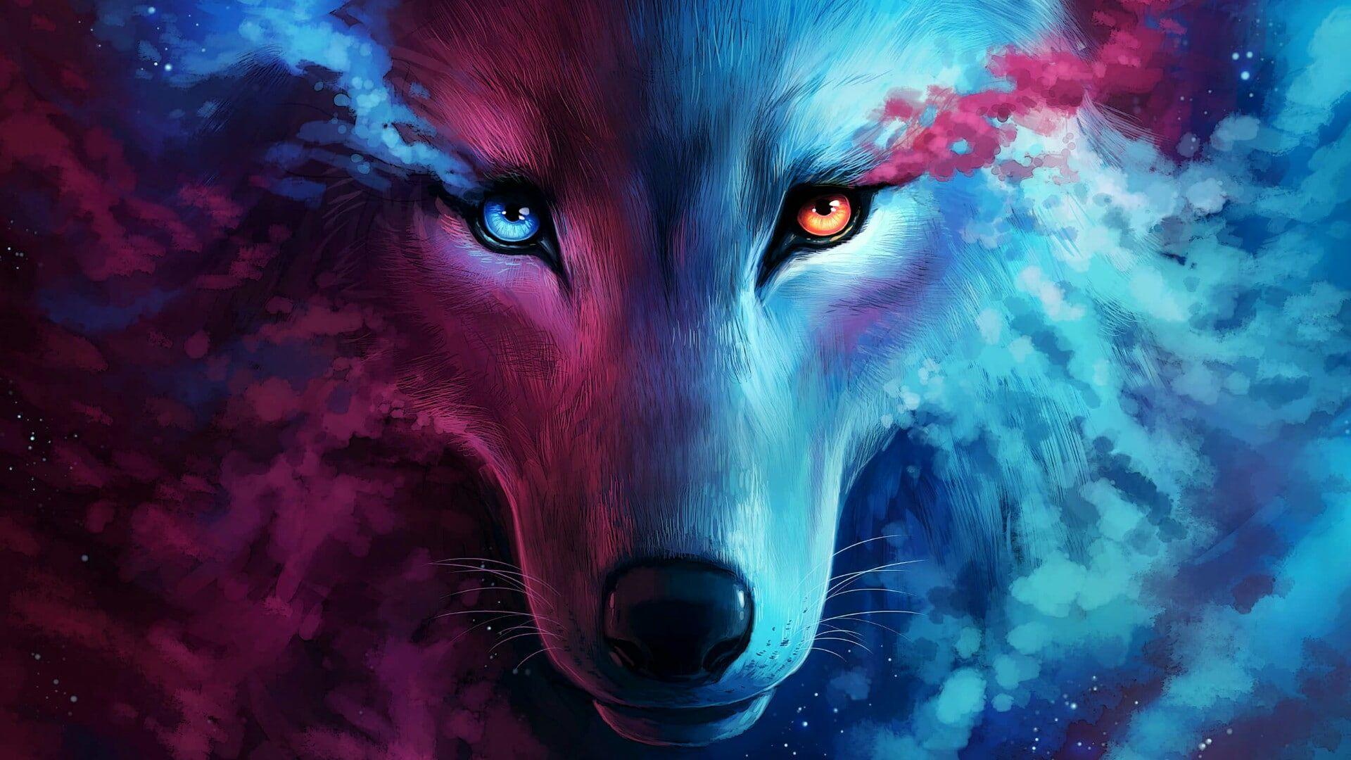 Wolf Art Fantasy Art Eyes Wild Animal 1080p Wallpaper