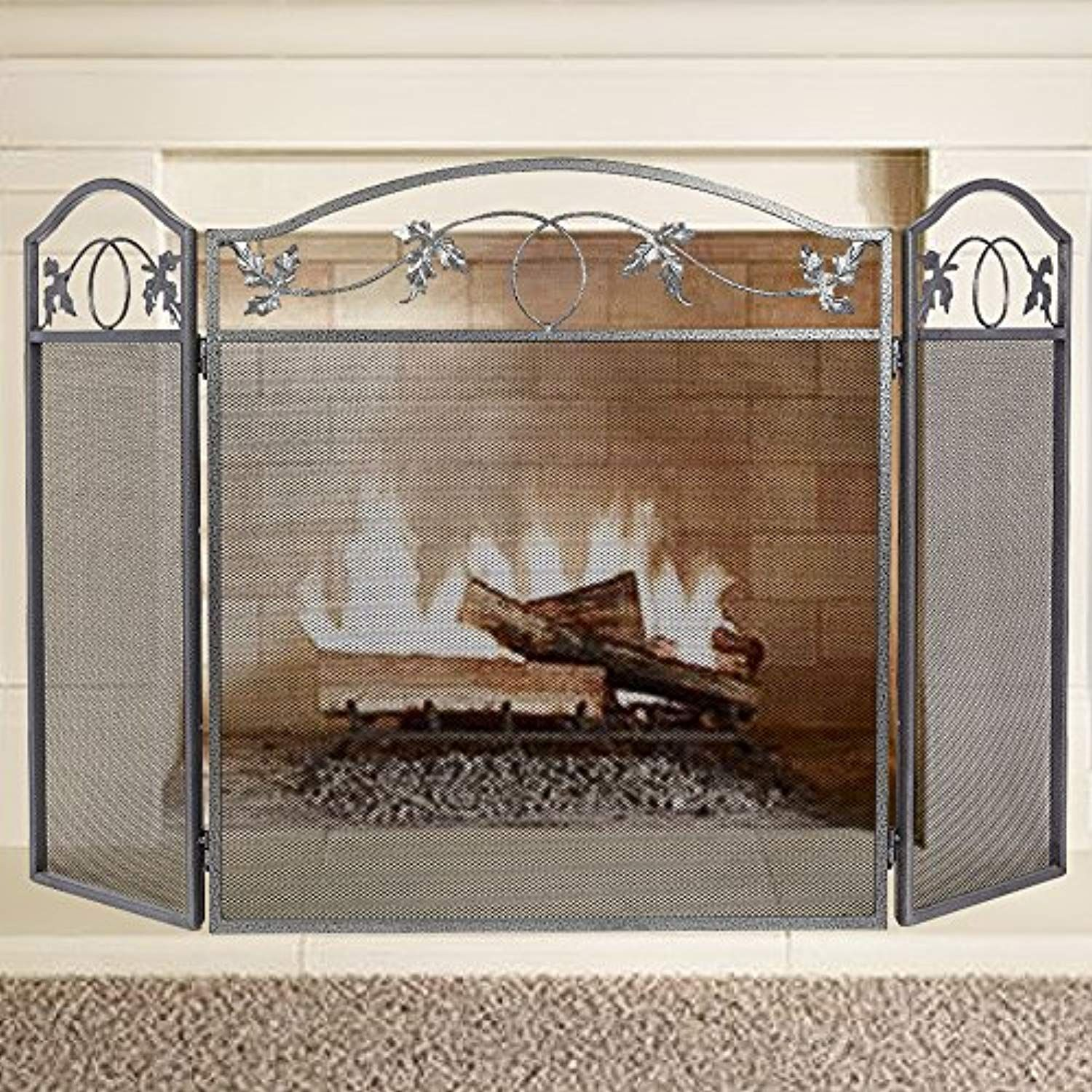 Amagabeli 3 Panel Pewter Wrought Iron Fireplace Screen Outdoor Metal Decorative Me With Images Fireplace Screens Wrought Iron Fireplace Screen Decorative Fireplace Screens