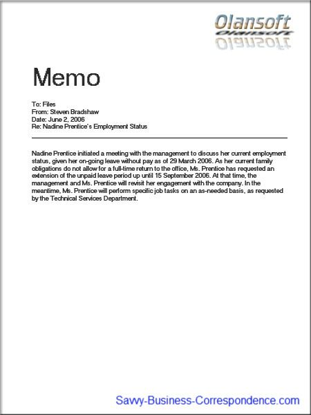 A memo to files Business Memos Pinterest Memo template - Sample Business Memo