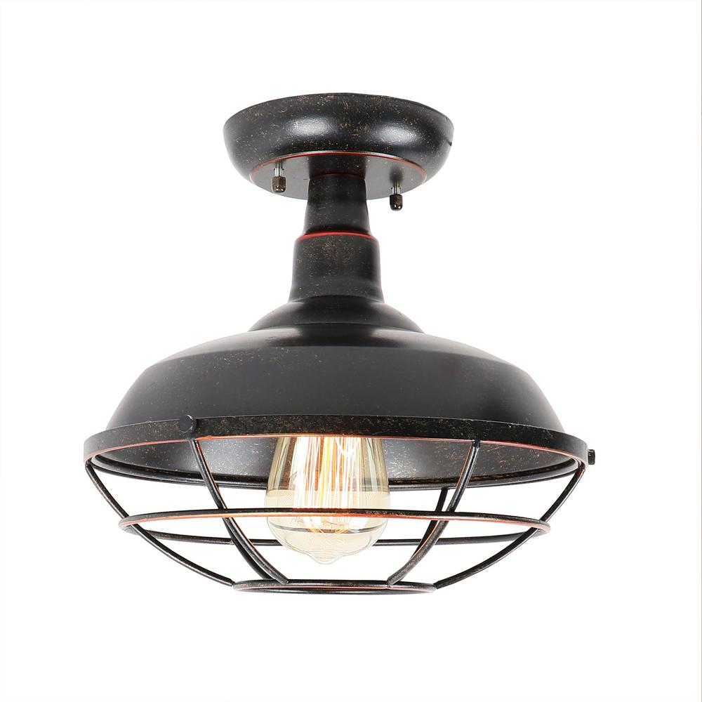 Small 1Light Oil Rubbed Bronze Outdoor Ceiling Light Semi