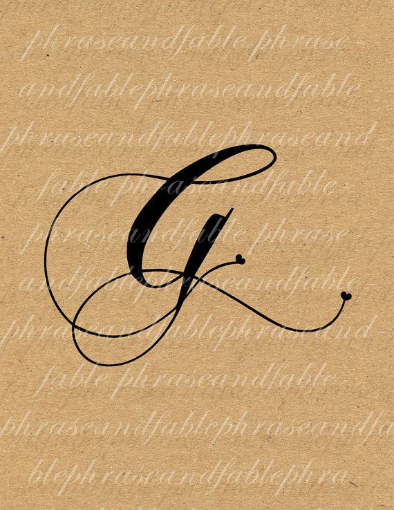 Letter G Hearts 278 Digital Download Alphabet Initial Name Glyph Character Font Typography Clip Art