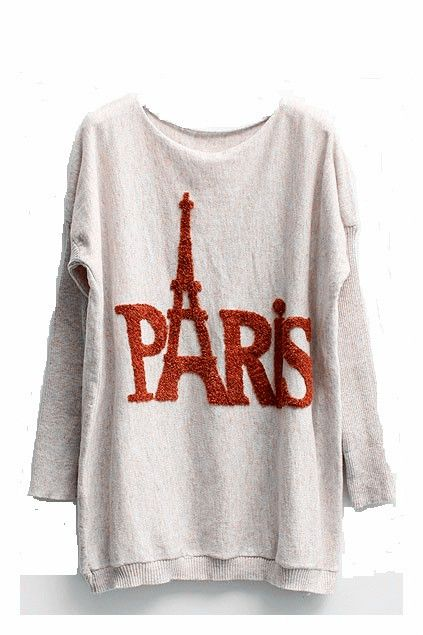 Batwing Sleeves Jumper with Paris Eiffel Tower Print