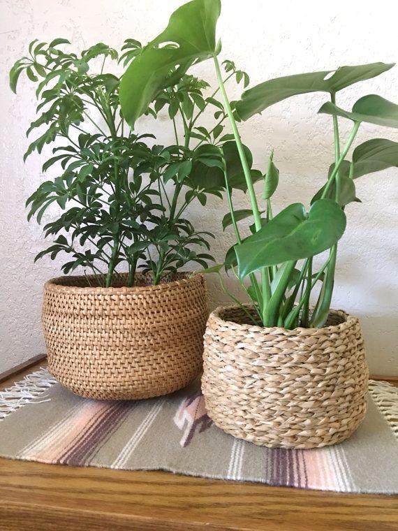 Coil Woven Vintage Straw Basket Planter Basket Planters Planters Decorative Planters