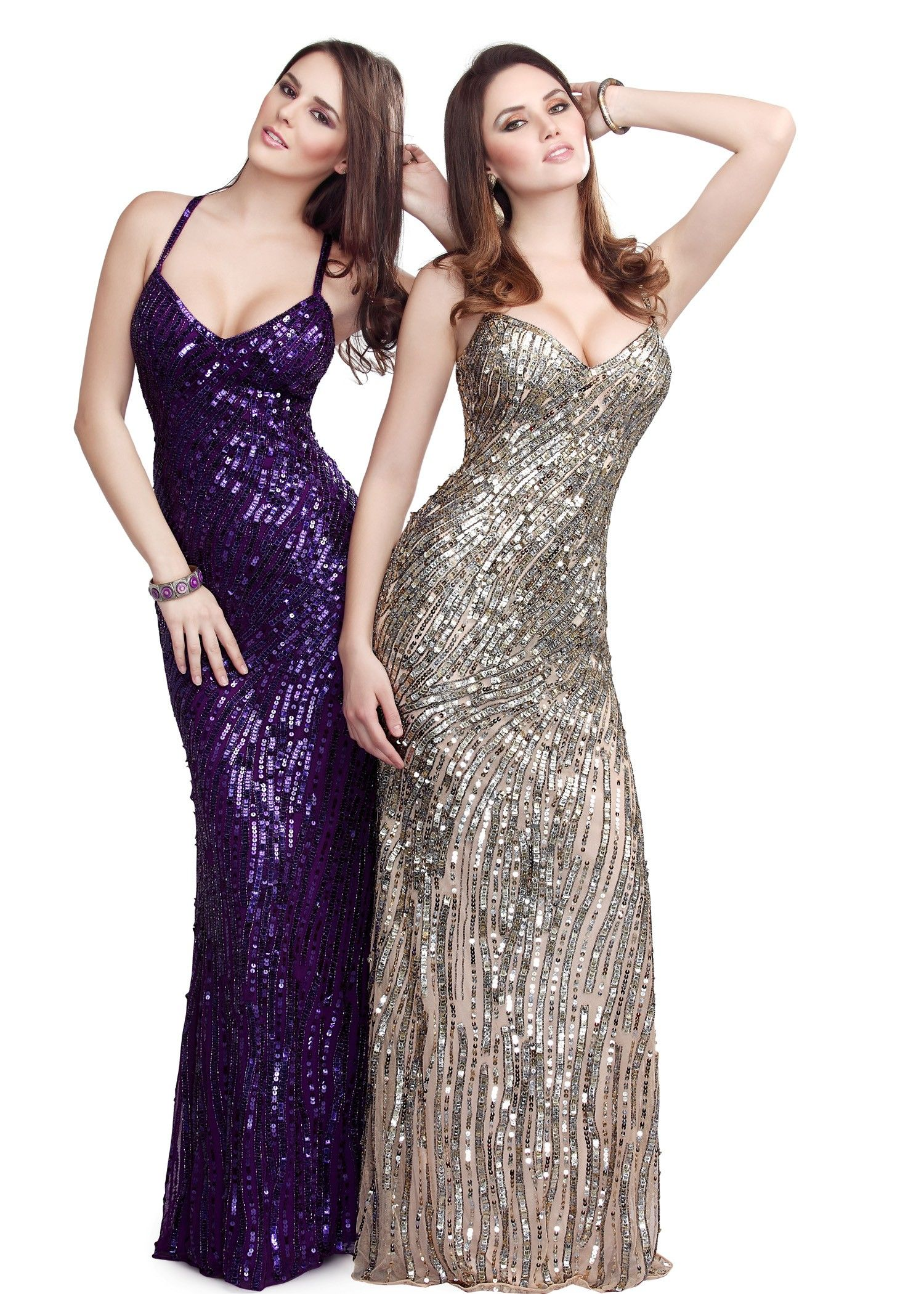 Sexy sequin purple and nude evening gowns open back prom dresses