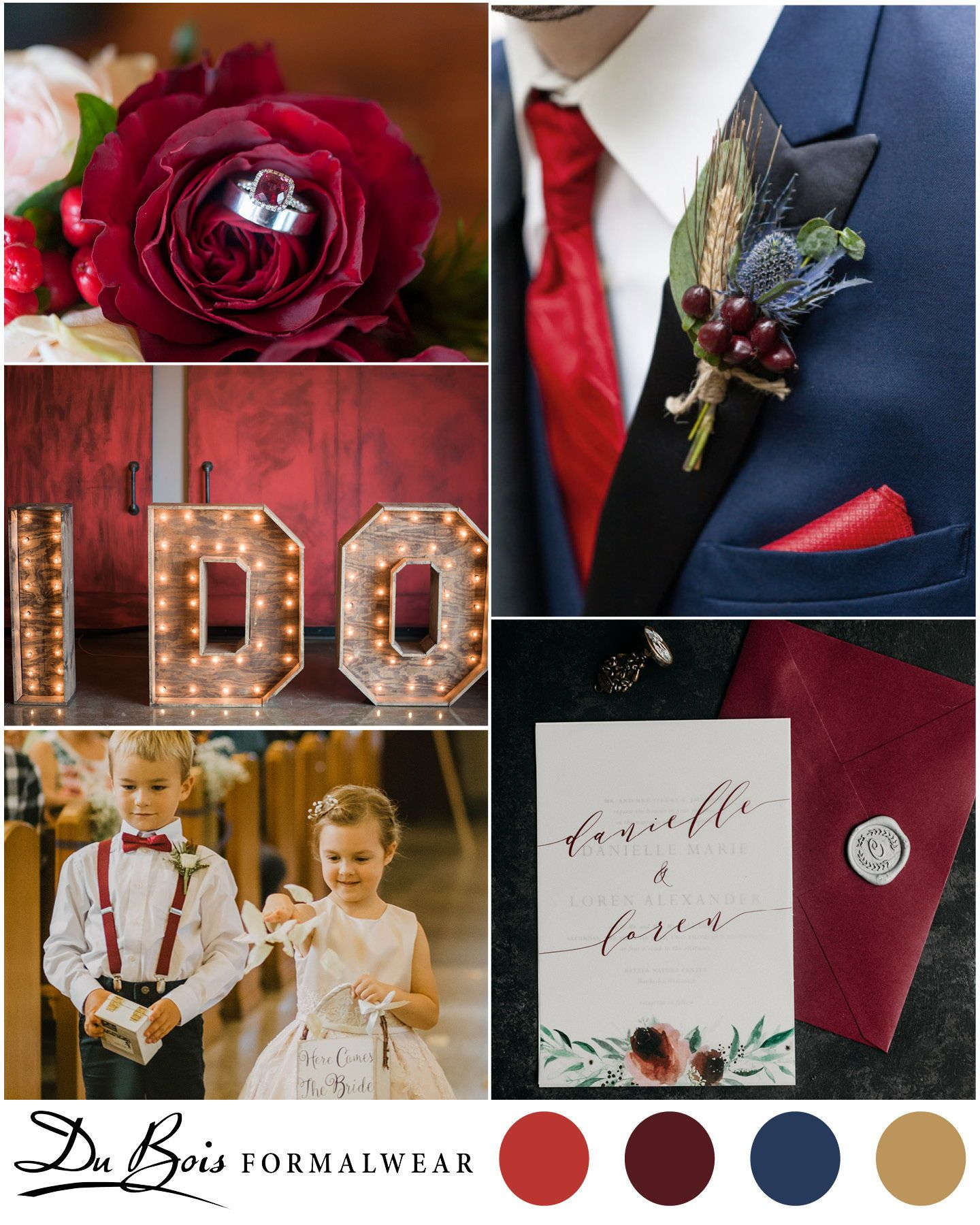 Red Burgundy And Wine Accessories Look Great With A Navy Suit Or Tuxedo For The Groomsmen In Your Wedding Burgundy Burgundy Floral Wedding