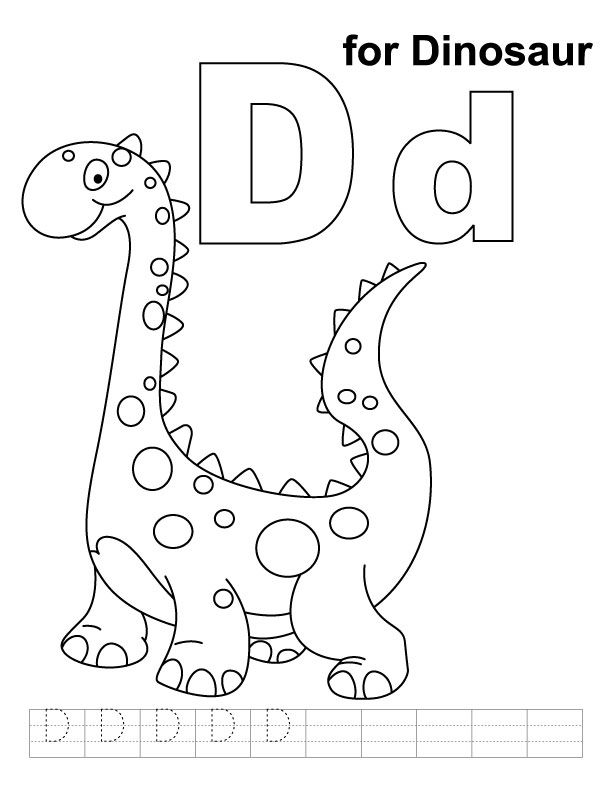 D for dinosaur coloring page with handwriting practice – Dinosaur Worksheets Preschool