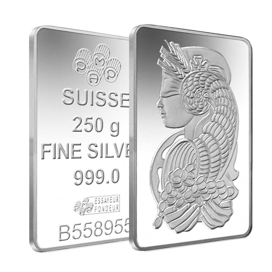 Lot Of 2 250 Gram Silver Bar Pamp Suisse Lady Fortuna 999 Fine W Assay Silver Bars Silver Bullion Silver