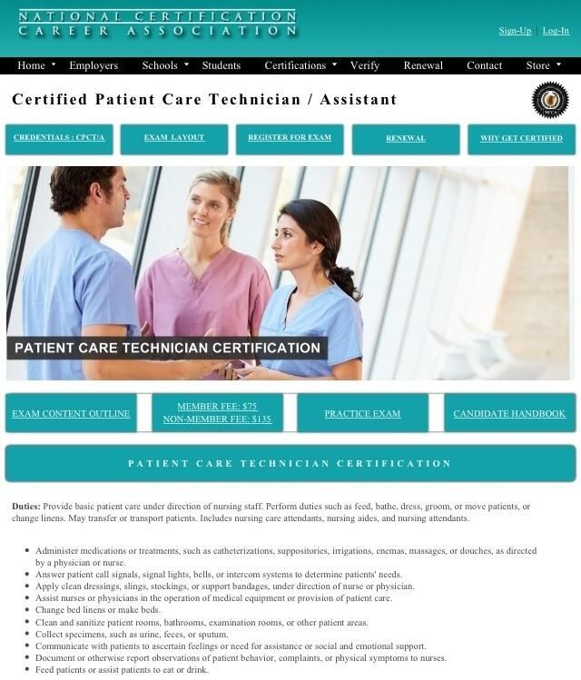 Patient Care Technician Certification Nccanow Self