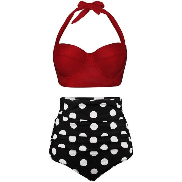 2269c3909c AnniBlue Women Vintage High Waisted Bikini Two Piece Bathing Suit... ( 24)  ❤ liked on Polyvore featuring swimwear