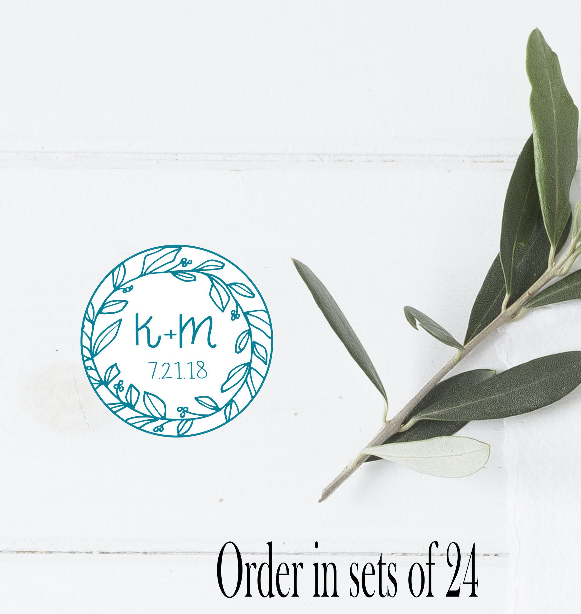 Wedding Favors Sticker, Laurel Wreath Initials, Wedding Stickers ...