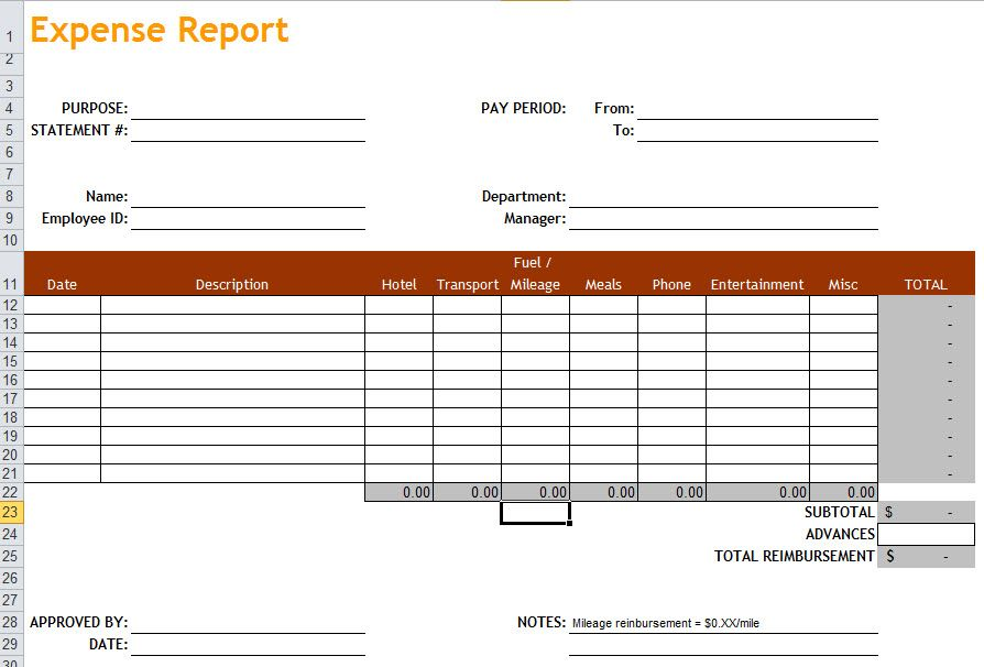 Excel Expense Report Excel Templates Report Template Templates
