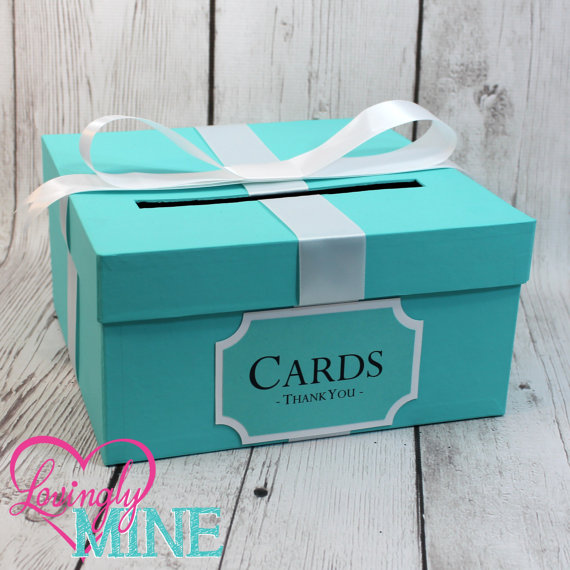 Card Holder Box With Sign In Light Teal & White