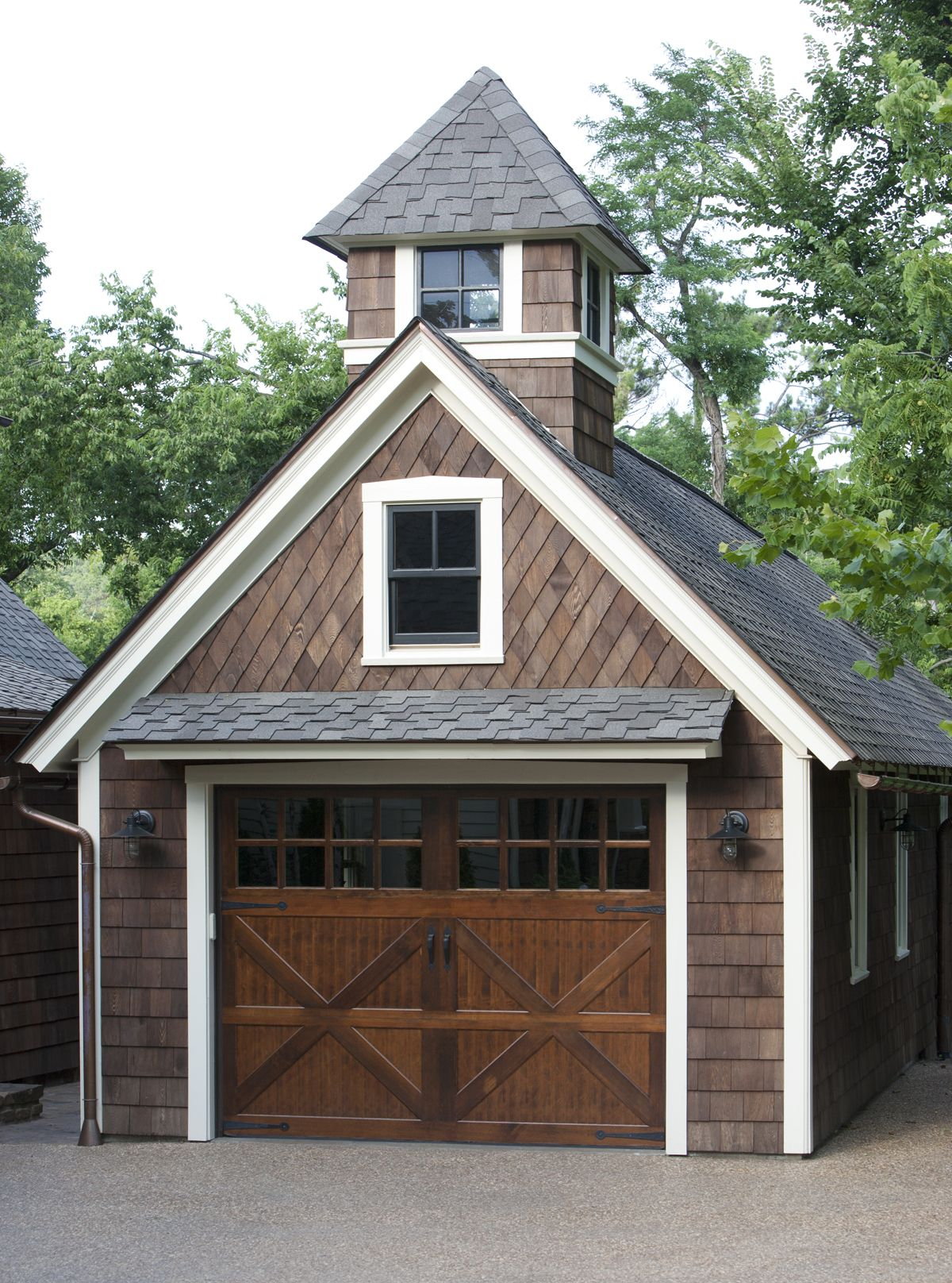 Exterior, Cedar Shakes Above Garage Door Natural Wood Varnished Clopay Garage  Door Wrought Iron Door Pulls Black Metal Lantern Lamp As Outdoor Lighting  ...