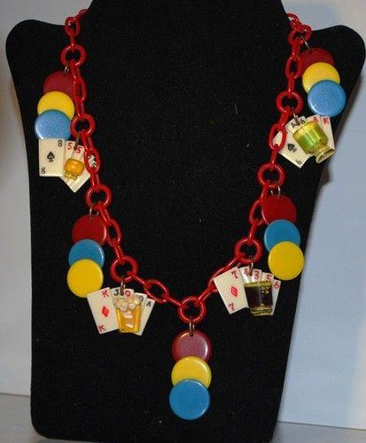 Bakelite Poker Necklace Vintage