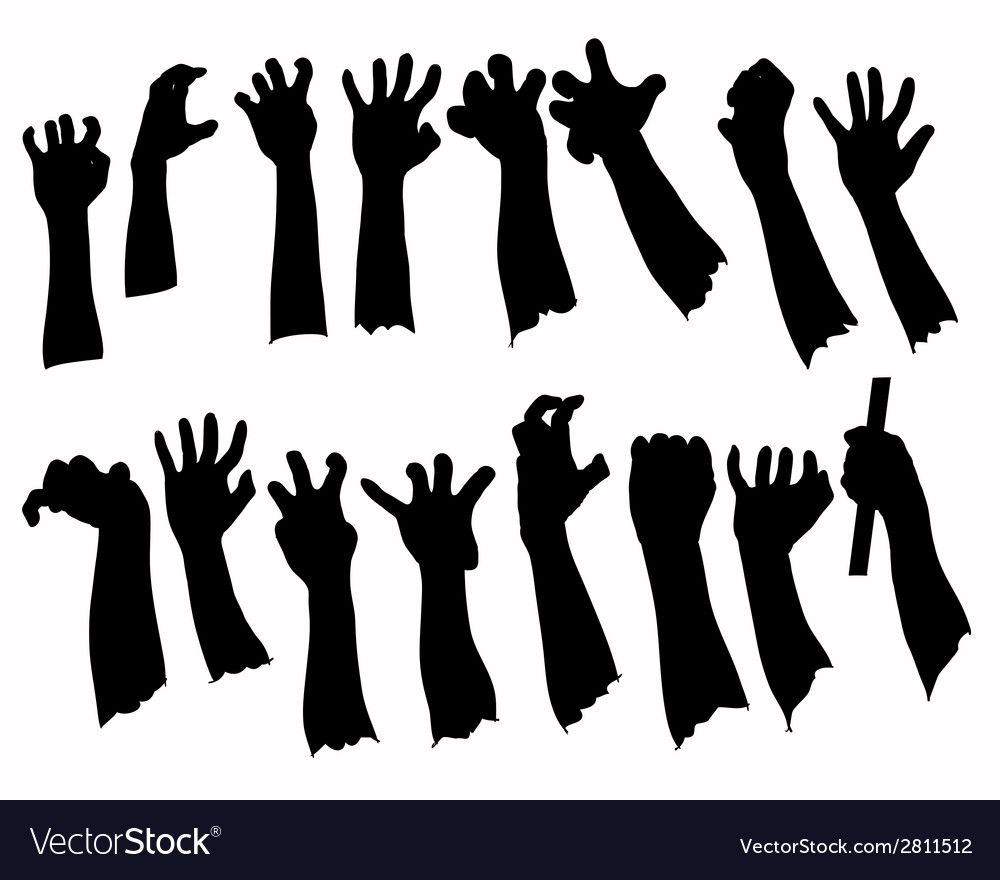 Silhouette set of hands in many gesture Royalty Free Vector