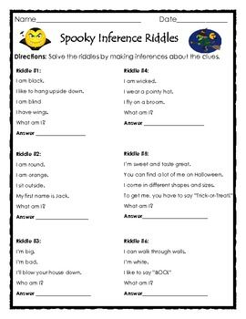 math worksheet : spooky inferences riddles  all about inferences  pinterest  : Riddles For Middle Schoolers