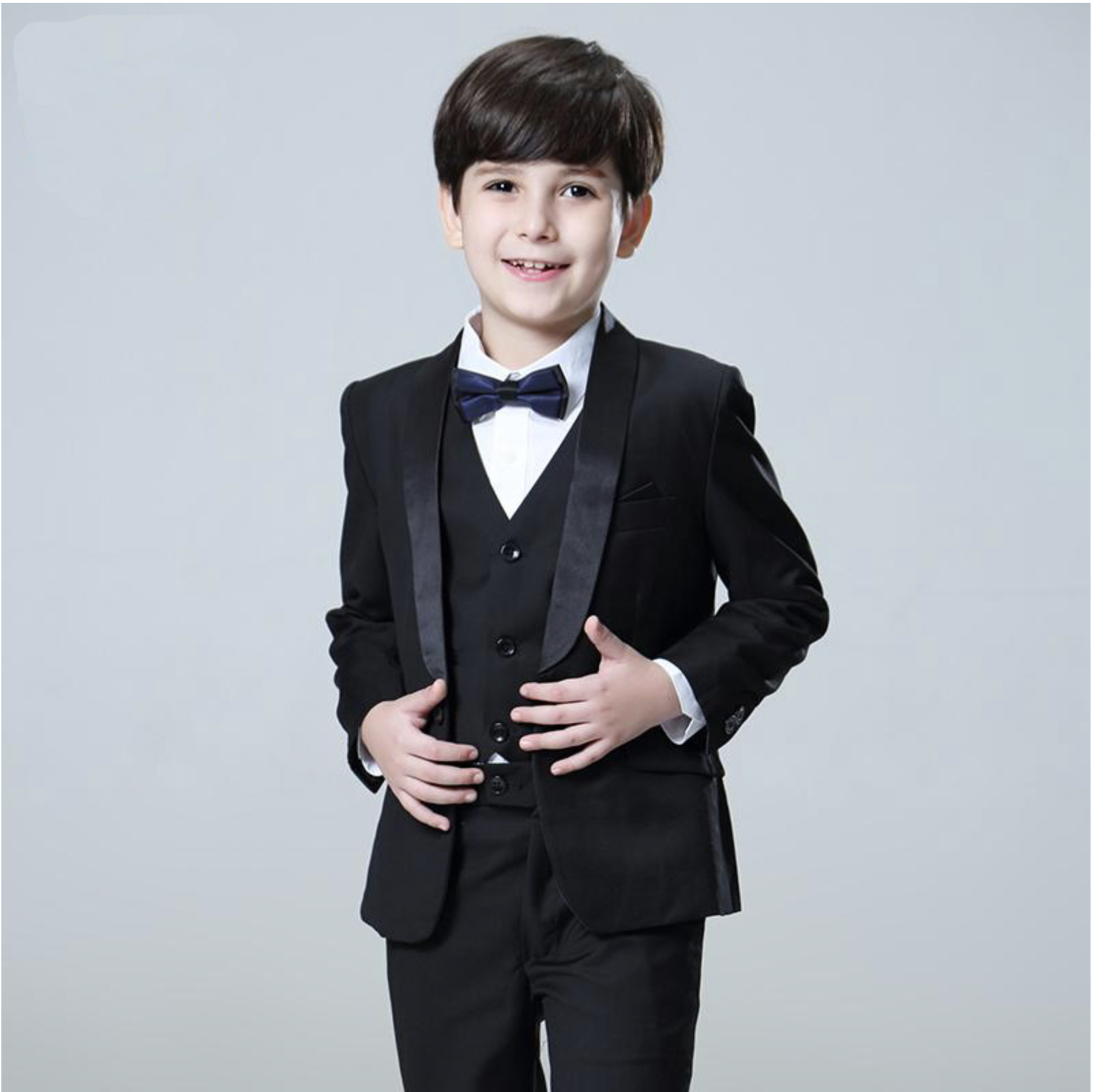 Black Plaid Boys Formal 5 Piece Suit Set