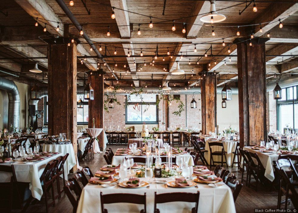 Industrial Chic Wedding Reception Decor With Twinkle Lights And Long Tables Industrial Chic Wedding Reception Kansas City Wedding Reception City Chic Wedding