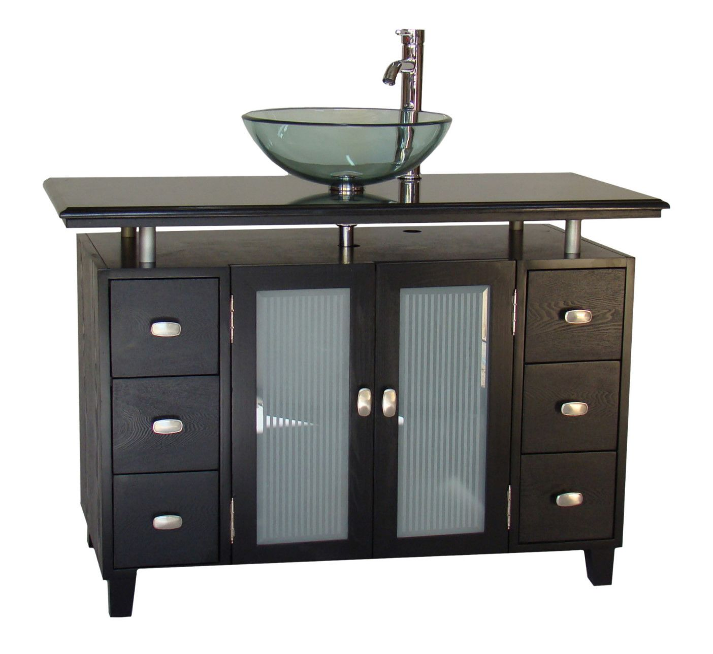 46 Inch Adelina Vessel Sink Bathroom Vanity Black Granite Top