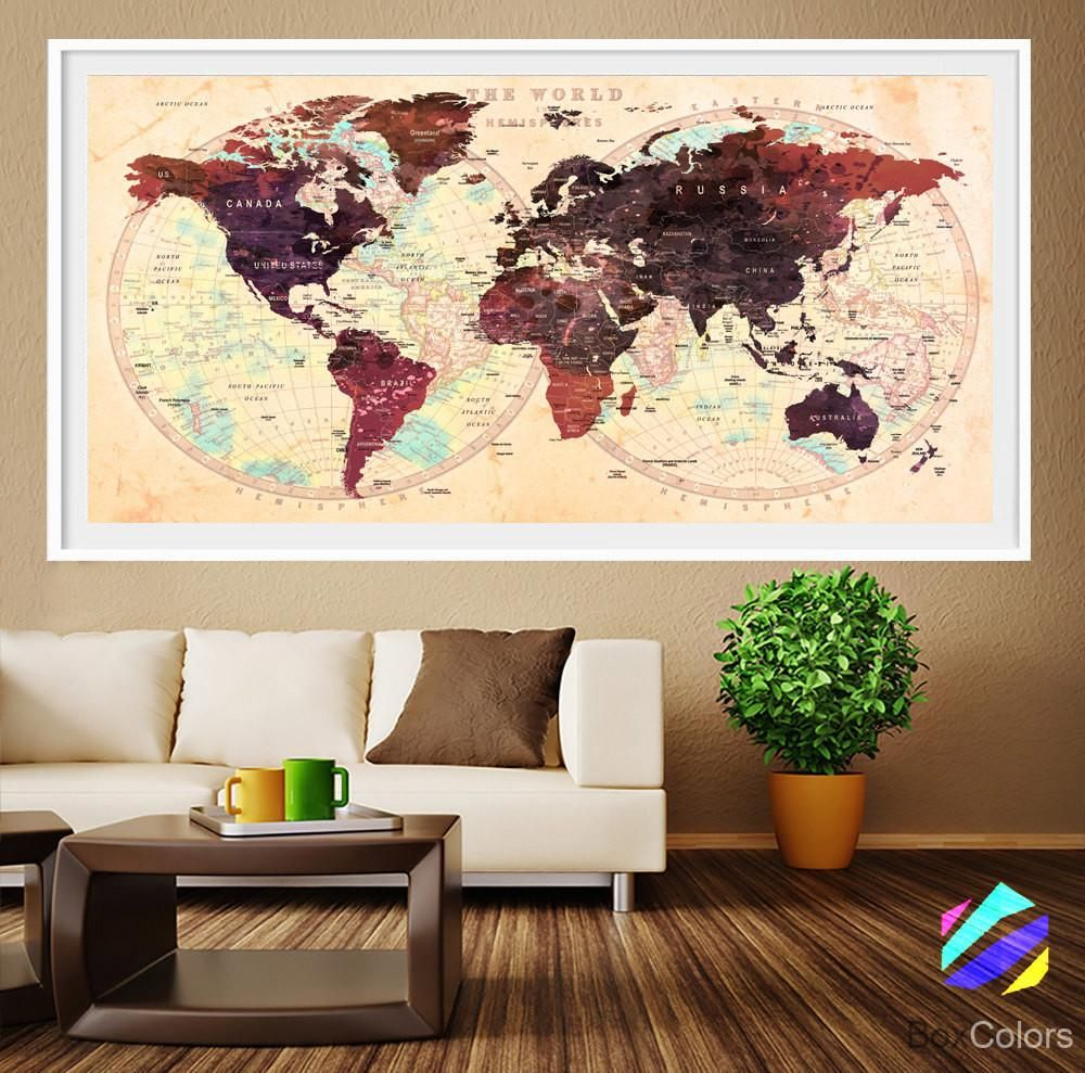 Xl Poster Push Pin World Map Travel Art Print Photo Paper Watercolor Wall Decor Home Office Frame Is Not Included P18 Free Shipping Usa