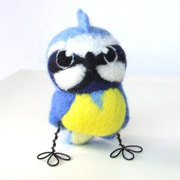Needlefelted bird, blue tit wild bird. This little blue tit is one of several new blue tit designs in real bird series. Markings and colours are as ac