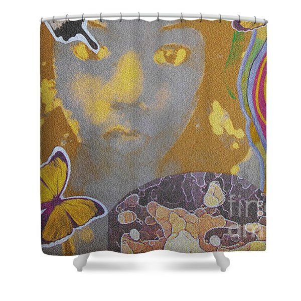 Shower Curtains - Ra Basstress Butterfly Four Shower Curtain by Kevin J Cooper Artwork