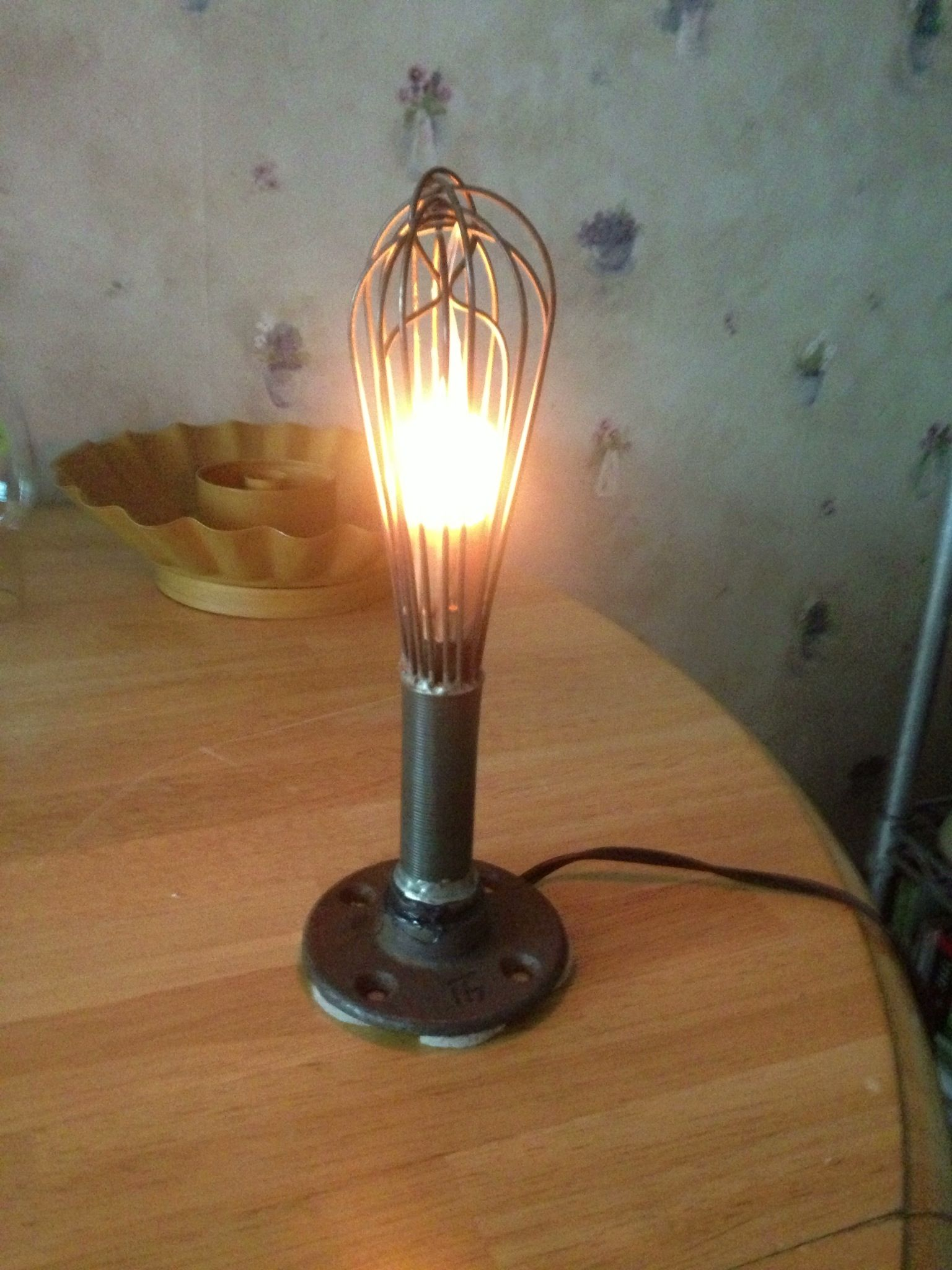 small resolution of night light made from and old wire whip and a pole bracket a candle light with