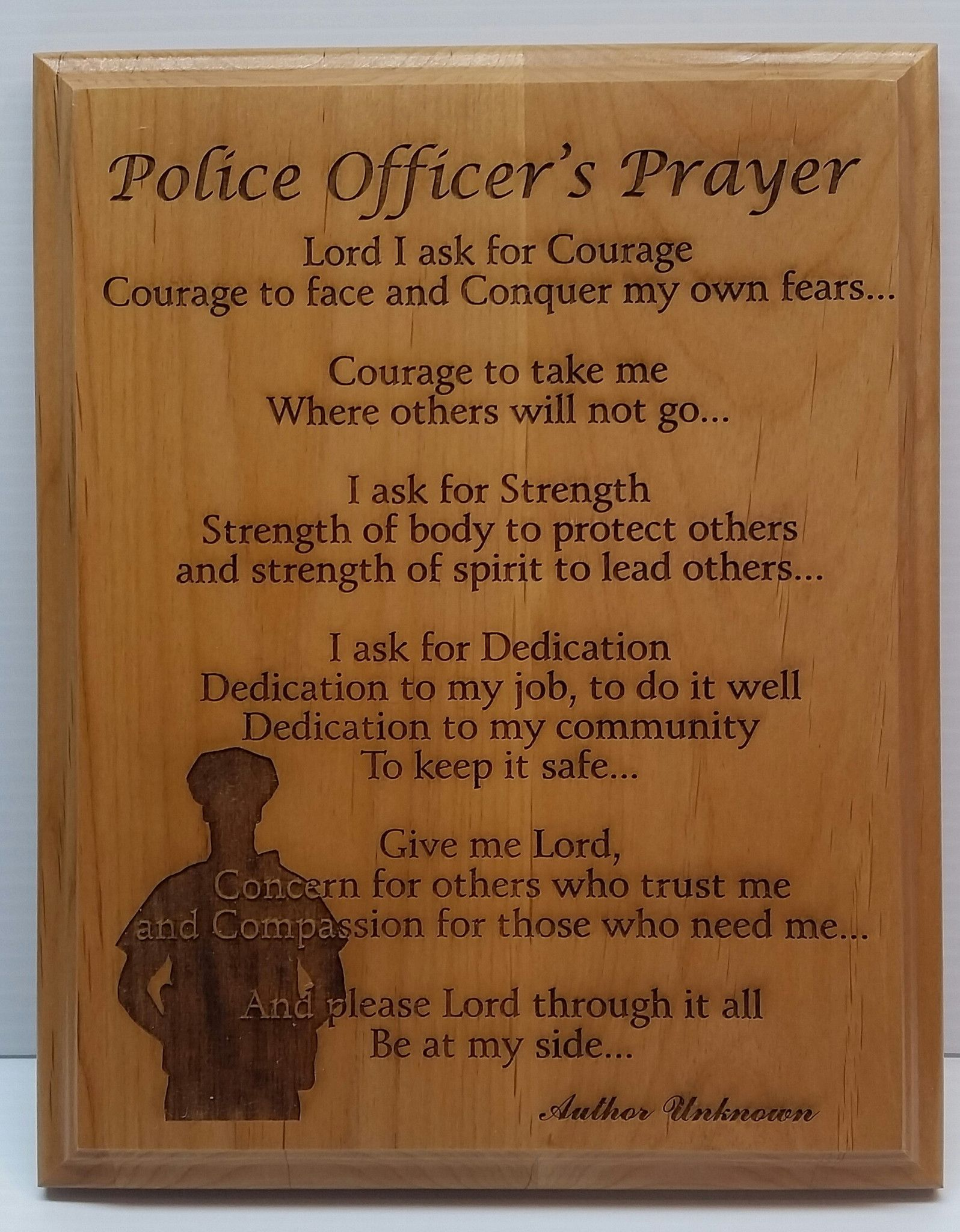 """This 8"""" x 10"""" wooden Alder plaque makes a great gift for the hero in your  life. We've thoughtfully designed the plaque to be an elegant display piece  in any ..."""