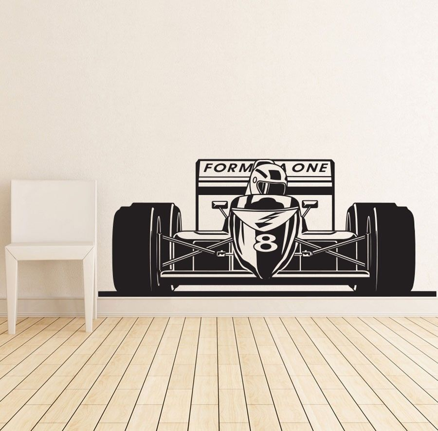 tennis wall decal boy personalized name stickers tennis player formula 1 one racing sports car wall decal art boys room home decor wall stickers vinyl