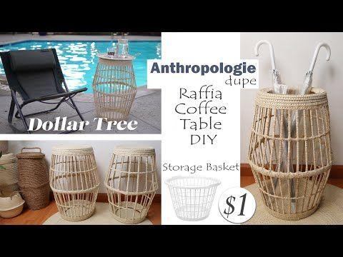 Dollar Tree DIY Raffia Coffee Table / Anthropologie DIY / Large Storage Basket DIY / -   19 diy Dollar Tree table ideas