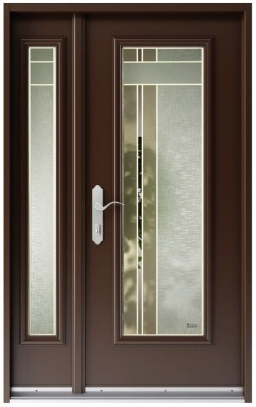 With The Two Tone Glass Design By Vitre Art This Door Glass Would Compliment Almost Any Door Sandblasted Glass Design Modern Exterior Doors Door Glass Design